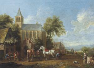 Landschap met ruiters voor een herberg bij een kerk