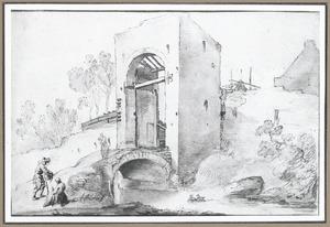 Poort met brug (mogelijk een van de poorten van de Bemuurde Weerd, aan de noordzijde van Utrecht)