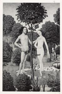 De zondeval: Adam tracht Eva te weerhouden het fruit te plukken (Genesis 3:6)