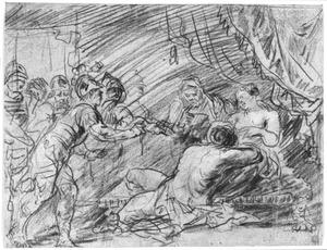 Terwijl Simson slaapt in Delila's schoot, wenkt zij de Filistijnen naderbij om zijn haar af te knippen (Richteren 16:19)