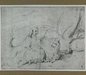 Een hond, twee aan hun poten gebonden schapen en een dode hoender