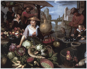 Levendig markttafereel met een jonge vrouw achter een marktkraam met vogels in kooien en stillevens van groenten en vruchten