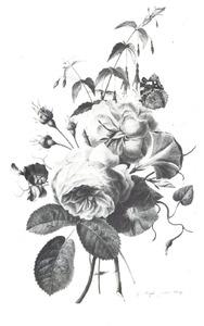 Boeket rozen en winde met een vlinder