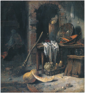 Boerderij-interieur met op de achtergrond vrouw bij het vuur
