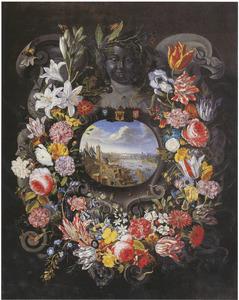Cartouche versierd met bloemen rond een stadsgezicht van Frankfurt am Main
