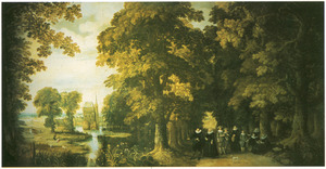 Bosachtig landschap met familieportret, in de verte een kasteel
