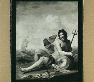 Neptunus zittend op het strand, met zijn rechterarm steunend op een dolfijn