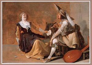 Kaartspelend paar in een interieur