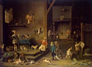 Keukeninterieur met vele figuren