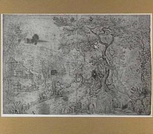 Boslandschap met dorp aan een rivier