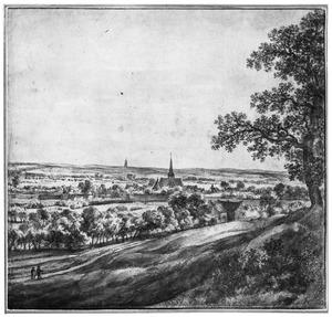 Gezicht vanaf de Wageningseberg op Wageningen; rechts in de achtergrond de Cuneratoren van Rhenen
