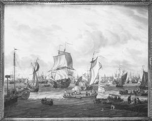 Scheepvaart op het IJ bij Amsterdam
