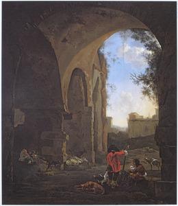 Rustende jagers in een Romeinse ruïne