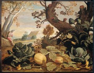 Landschap met groenten en vruchten op de voorgrond