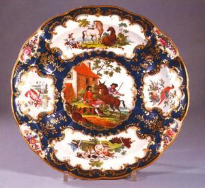 Worcester porseleinen schaal met de ezel en het hondje, uit de fabel van Aesopos