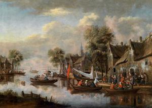 Gezicht op schepen bij een aanlegplaats buiten een stad
