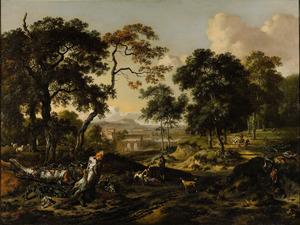 Bebost landschap met een herder en jager op een weg; in de verte een rivier