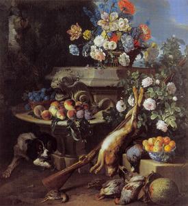 Stilleven met bloemen, vruchten en wild