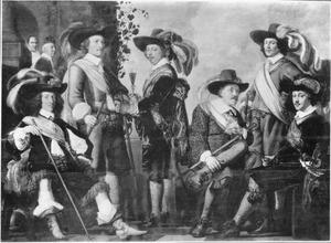 Negen officieren van het vendel van Kapitein Laurens van Lanschot, 1650