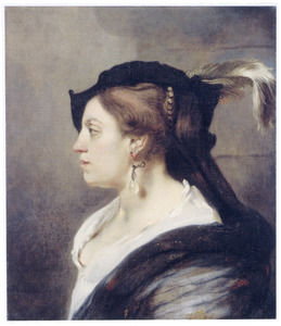 Vrouw met oorhanger met parel in profiel