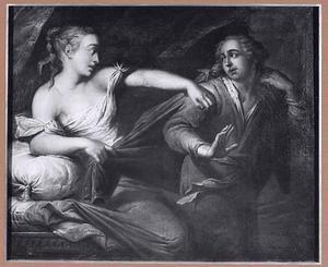 Jozef door de vrouw van Potifar belaagd (Genesis 39:12)