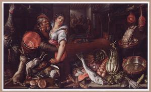 Keukenstilleven met een man die avances maakt naar de keukenmeid achter een rijkgevulde tafel en in de achtergrond triktrakspelers