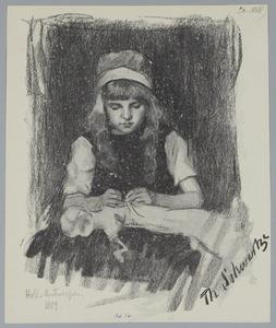 Portret van een handwerkend meisje