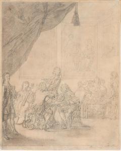 Musicerend en thee drinkend gezelschap, met links mogelijk een (zelf)portret van de kunstenaar, of van de eerste eigenaar van het blad, de musicus Giovanni Stefano Carbonelli