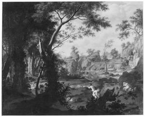 Arcadisch landschap met badende figuren in een beek