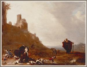 Landschap met de twee berinnen, die de kinderen  verscheuren die Elisa hebben bespotten (2 Koningen 2: 23-24)