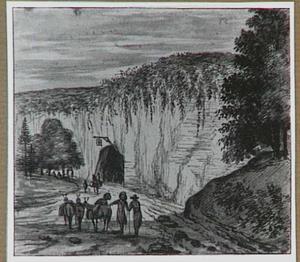 Rotslanschap met herberg in een rotswand en figuren