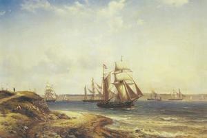 Schepen varend langs Helsingør met het Slot Kronborg in de achtergrond