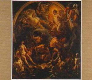 Apollo rijdend in zijn wagen en andere goden van de Olympus