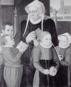 Portret van Hilleke de Roy (ca. 1510-1601) en vier weeskinderen