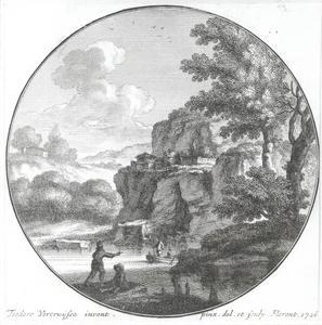 Rotsachtig rivierlandschap met figuren