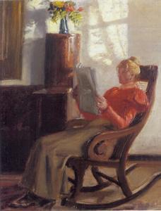 Jonge vrouw, Engel Saxild, in schommelstoel in Ancher's huiskamer