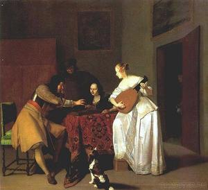 Trik-trakspelers en vrouw met luit in een interieur