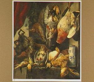 Stilleven met dode haas en vogels, een porseleinen pul en een bronzen beeldje