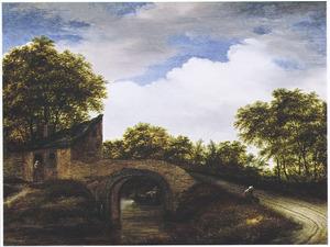 Landschap met huis bij een brug