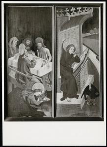 De maaltijd bij Simon de farizeeër, Johannes de Evangelist, de Mantelmadonna, De voorspraak van Christus en Maria (buitenzijde luiken)