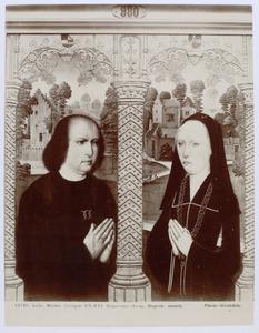 Portret van Louis de Quarry, ontvanger der belastingen te Mechelen in 1482 (links), portret van Barbe de Cruysinck (rechts)