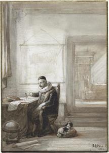 Geleerde in zijn studeerkamer (Jan Adriaanszoon Leeghwater, 1575-1650?)