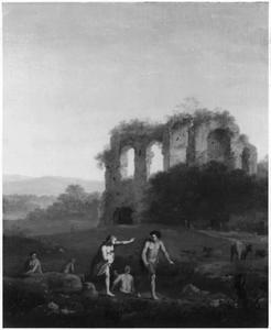 Landschap met ruïnes en badende figuren