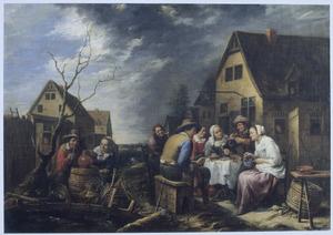 Gezelschap aan de maaltijd voor een herberg