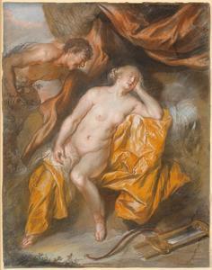 De als sater vermomde Jupiter bespiedt de slapende Antiope