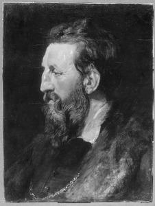 Studiekop 'en profil' van een man met een baard