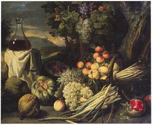 Stilleven van vruchten en asperges in een landschap, links een fles