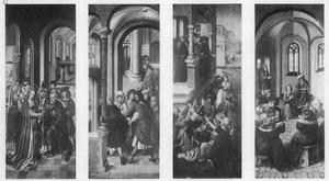 Het huwelijk van Jozef en Maria, Jozef en zijn mededingers voor de hogepriester, de kindermoord te Bethlehem, Christus als twaalfjarige in de tempel (van links naar rechts)