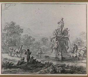 Italianiserend landschap met herders en tekenaars bij een barokke fontein