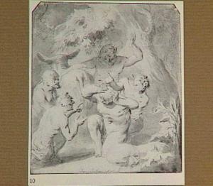 Faunen en ezel in een bos (voorstelling uit de geschiedenis van Psyche)